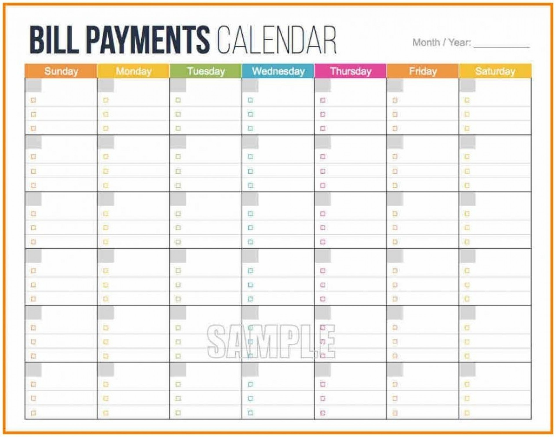 001 Free Printable Bill Pay Calendar Template Within