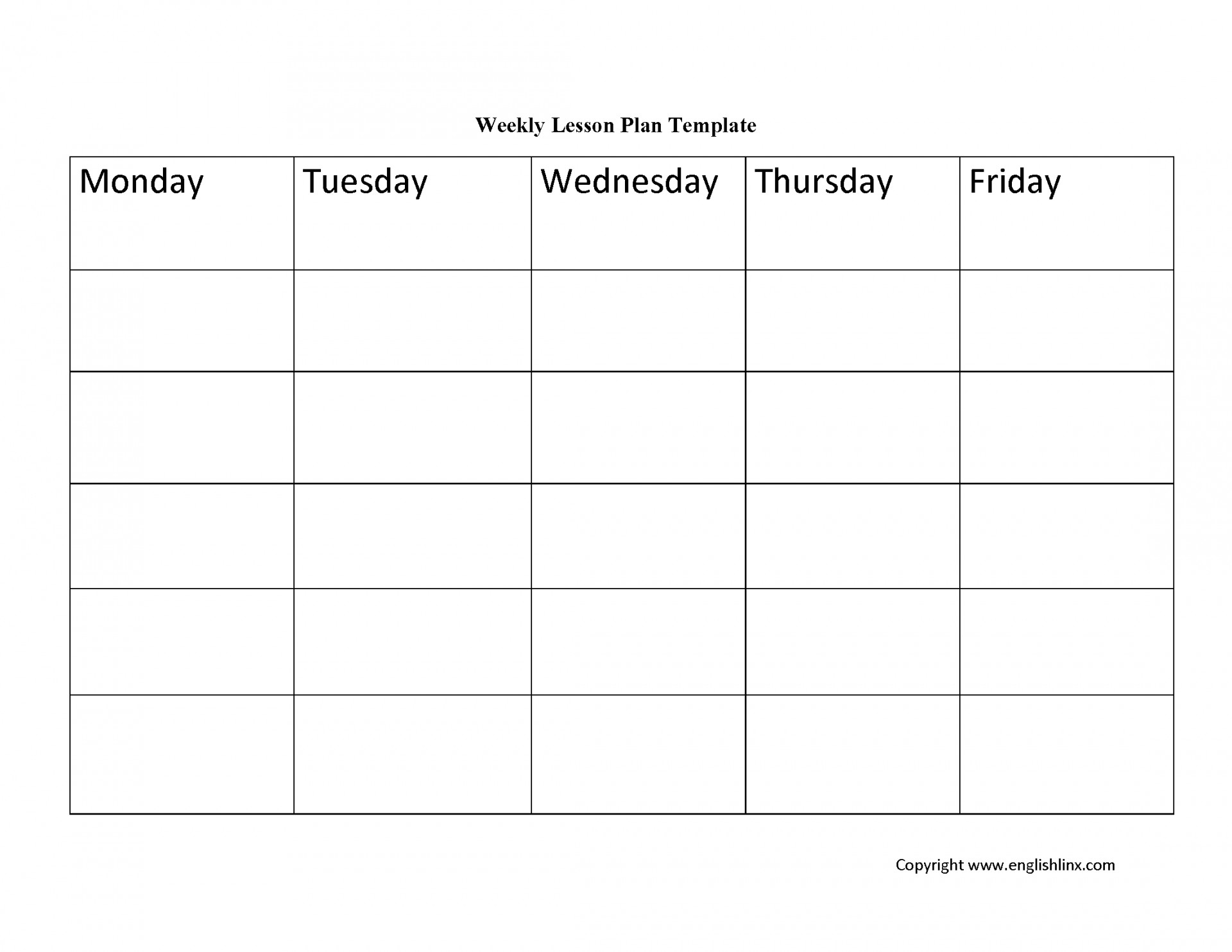001 Plan Template Weekly Lesson ~ Tinypetition