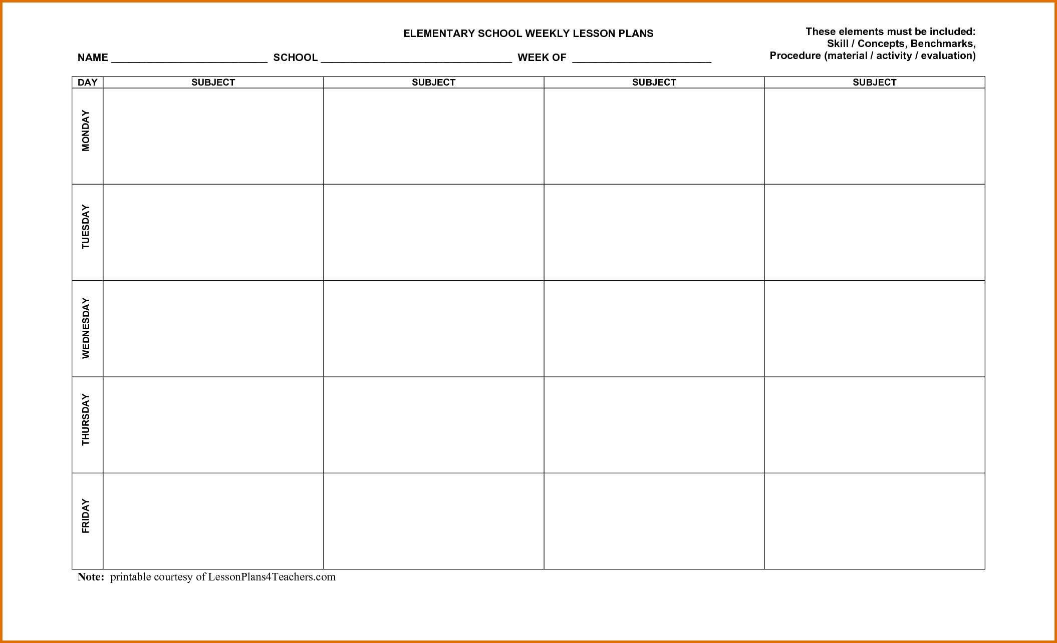 001 Weekly Lesson Plan Template Word Unit ~ Tinypetition