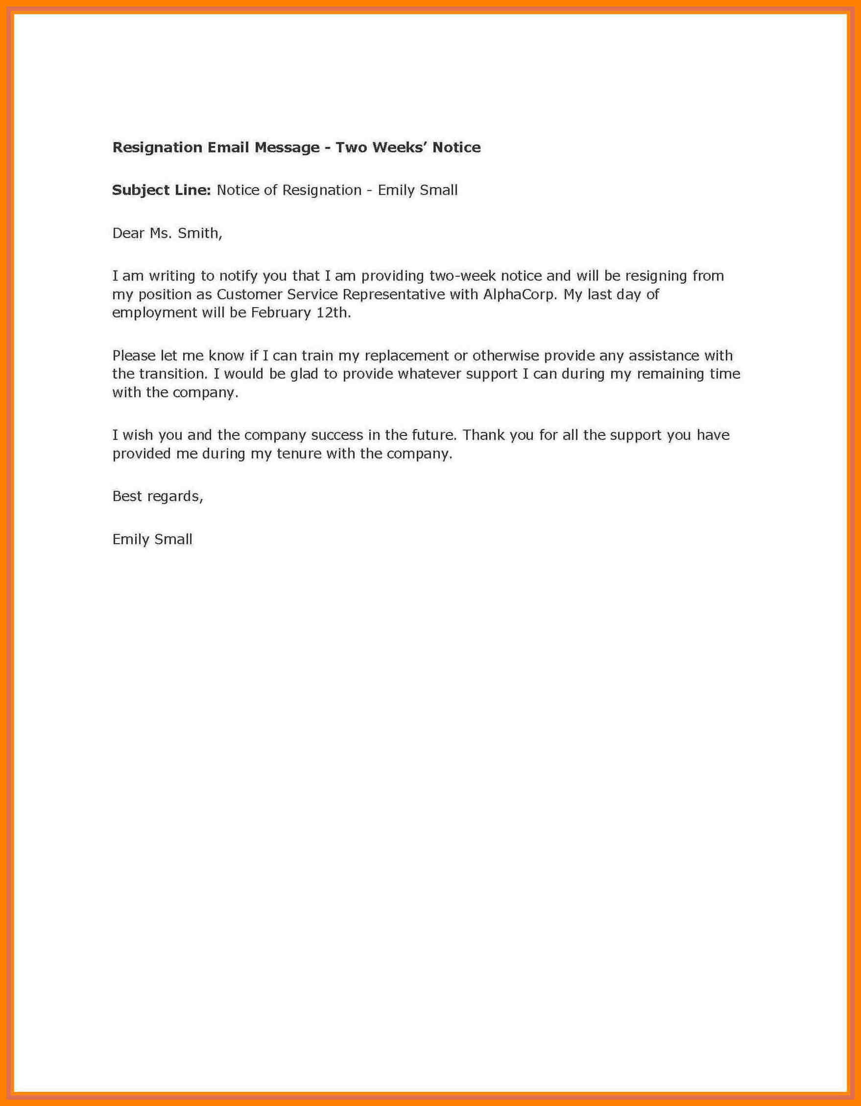 002 Week Notice Template Word Ideas Two Weeks Letter Example