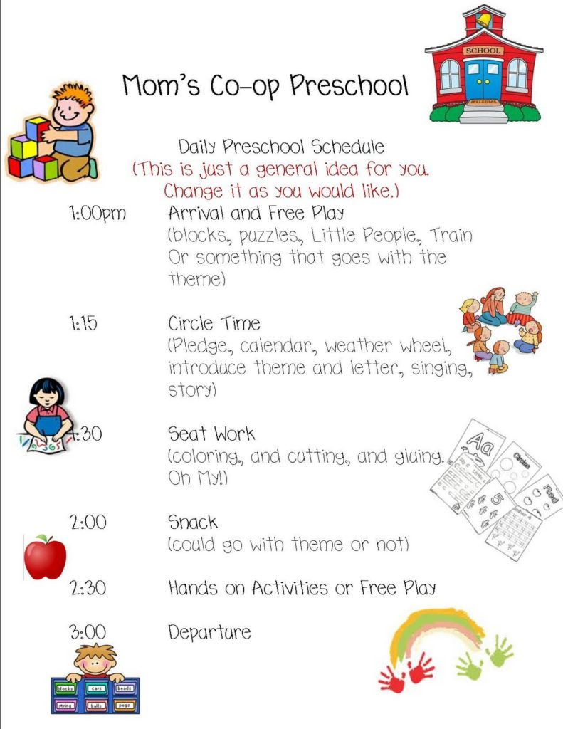 003 Preschool Schedule Template Daily 791X1024 Impressive