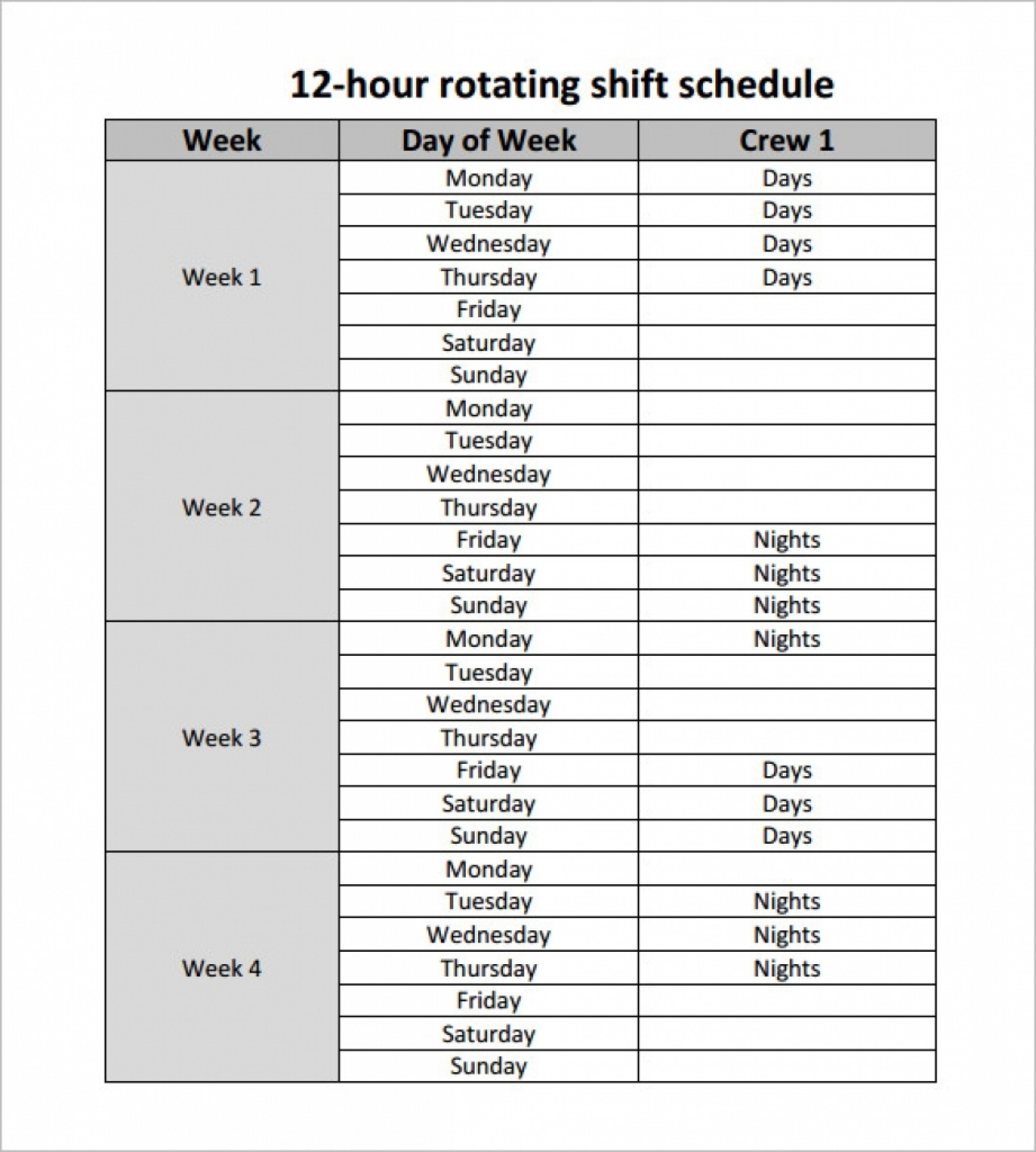 005 20Hour Shift Schedules Template Excel Calendar Printable