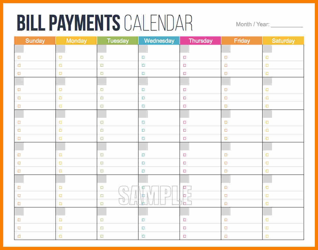 008 Template Ideas Bill Pay Schedule Calendar 2 Unusual
