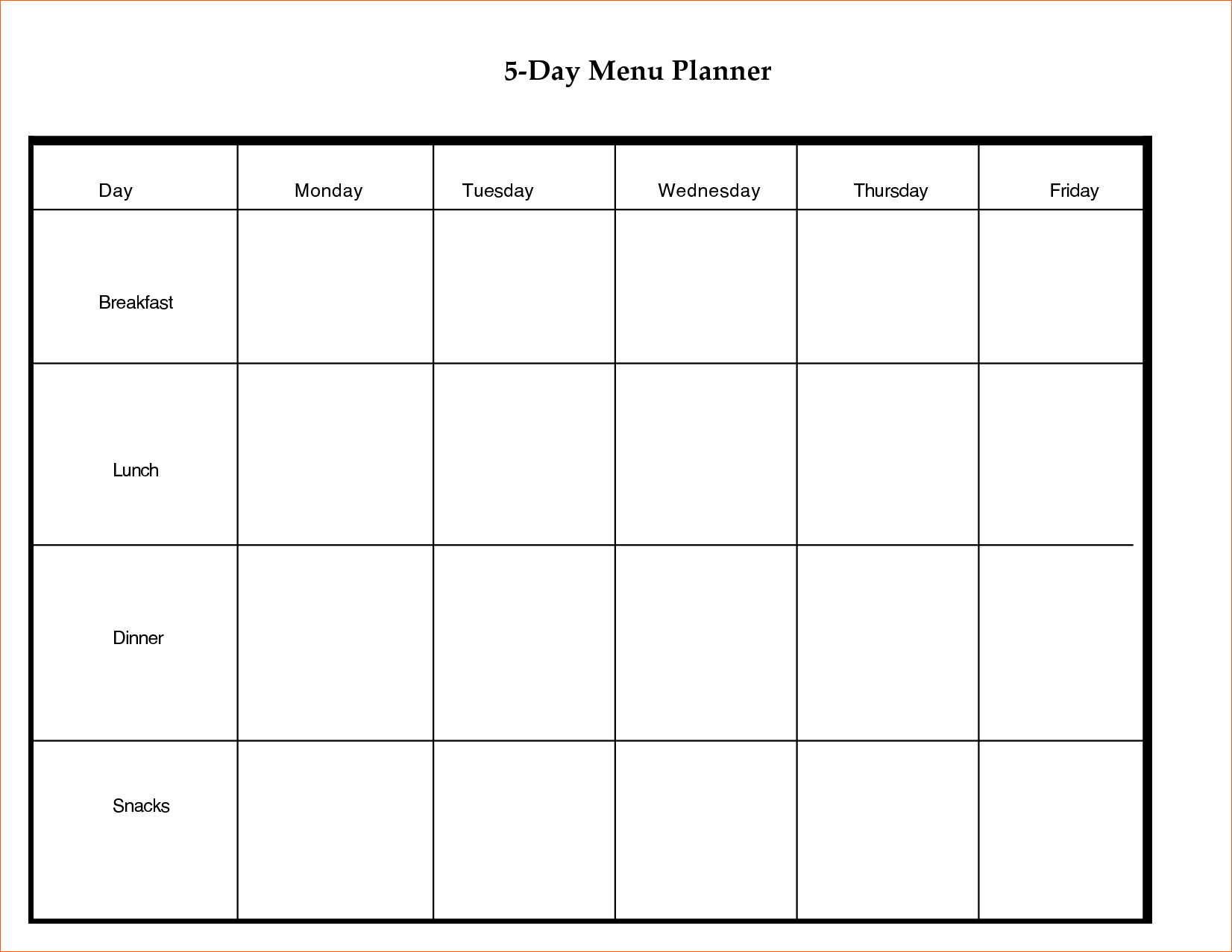 013 Five Day Lesson Plan Template 20Day Calendar20Mplate