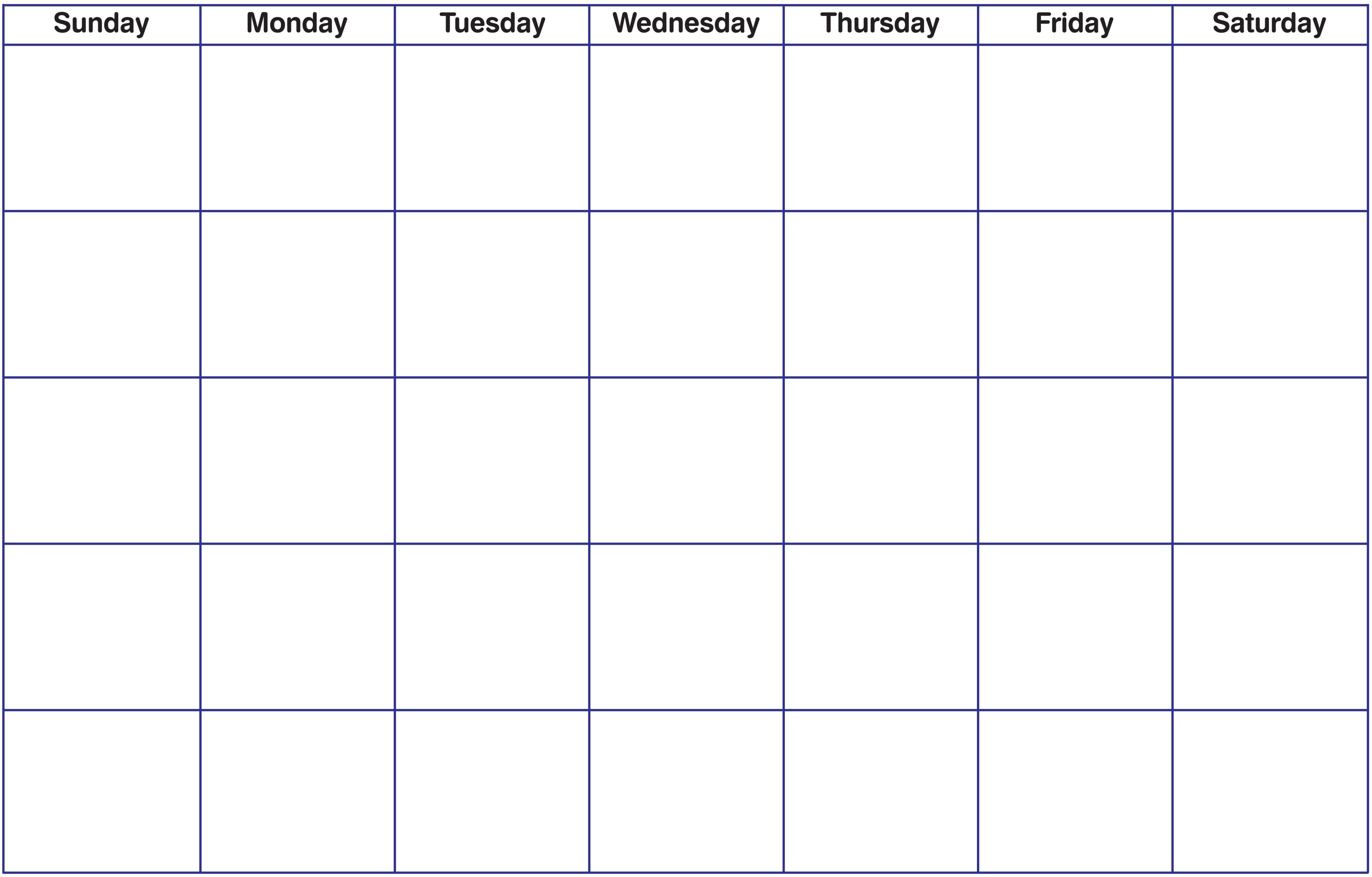 013 Printable Word Free Blank Calendar Template Pdf Weekly