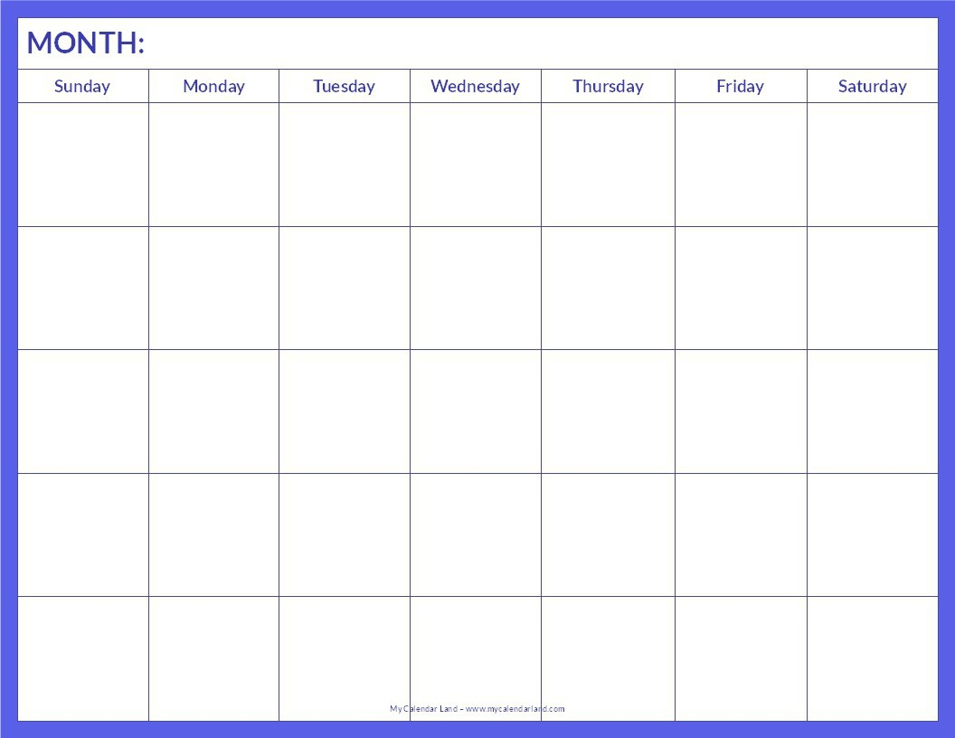 018 Blank Calendar Template Pdf Ideas Free Monthly Printable