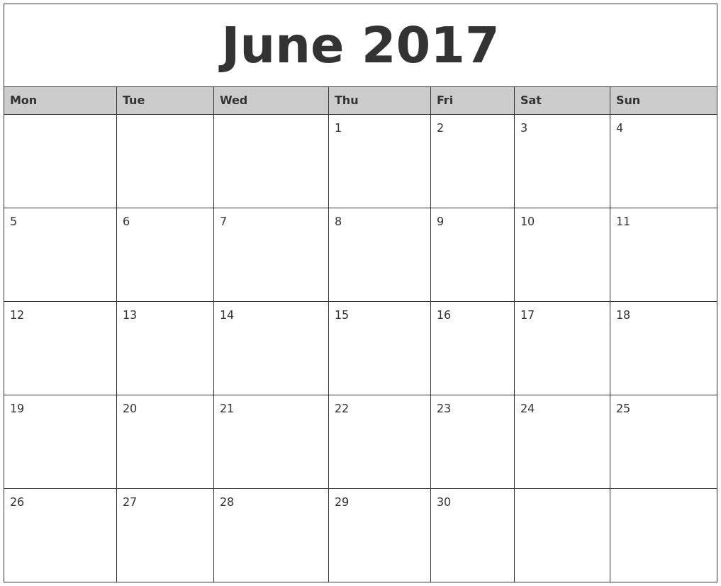 020 June Monthly Calendar Printable Monday Start Template