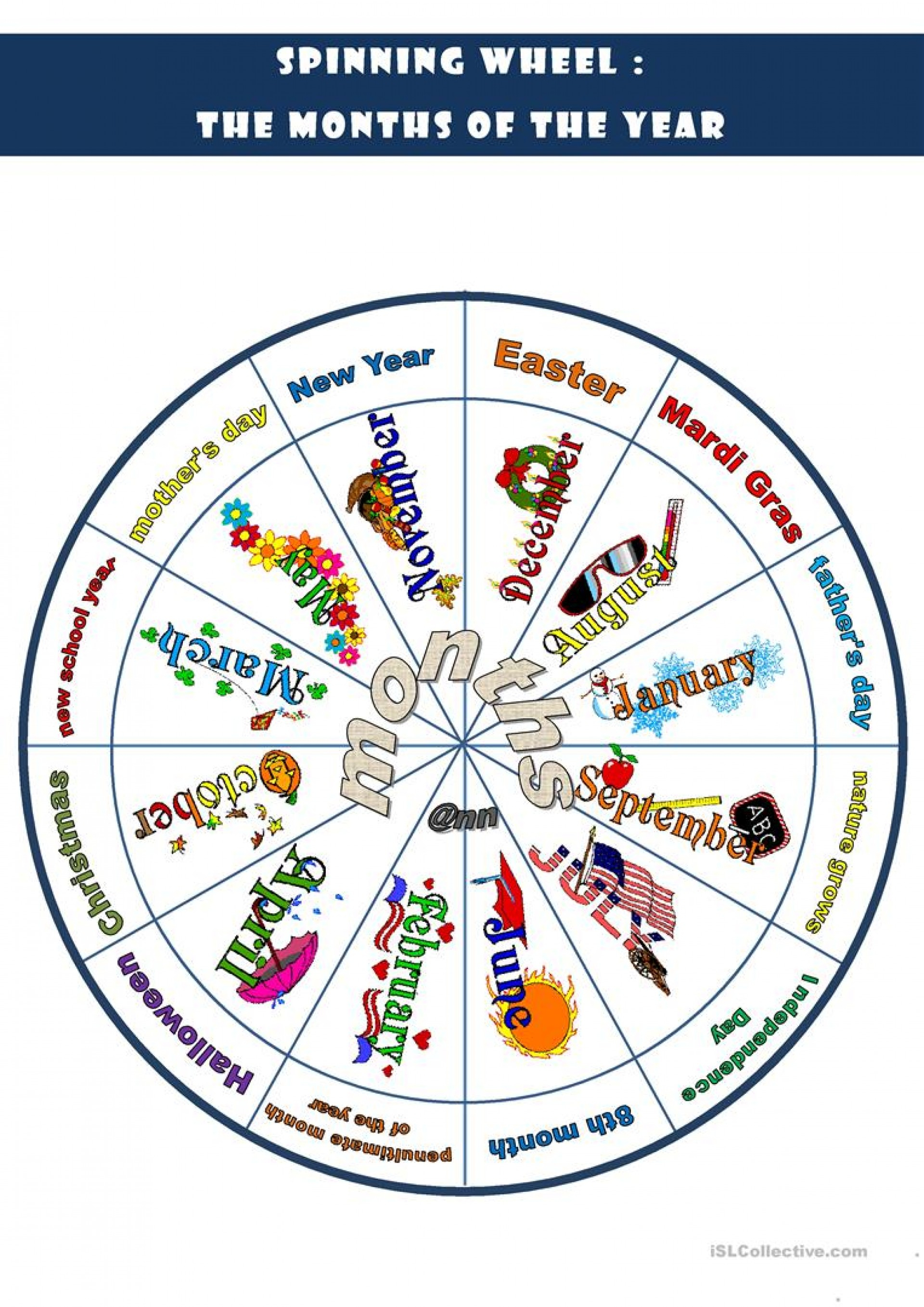 021 Printable Word Spinning Wheel The Months Of Year Games