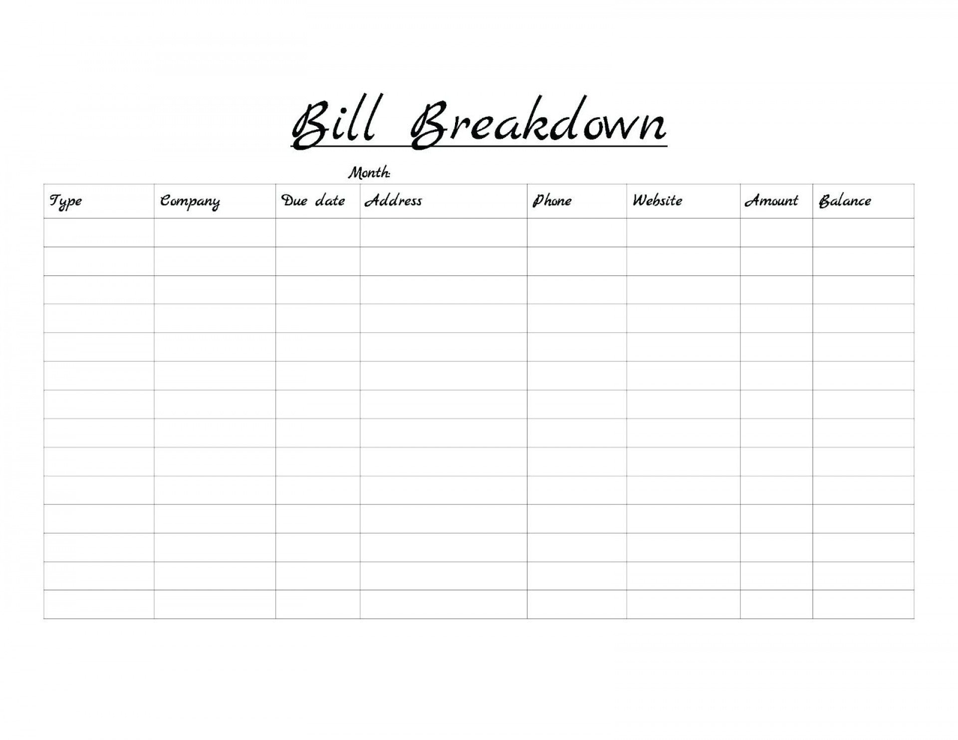 023 Printable Bill Payment Schedule Monthly Bills Template