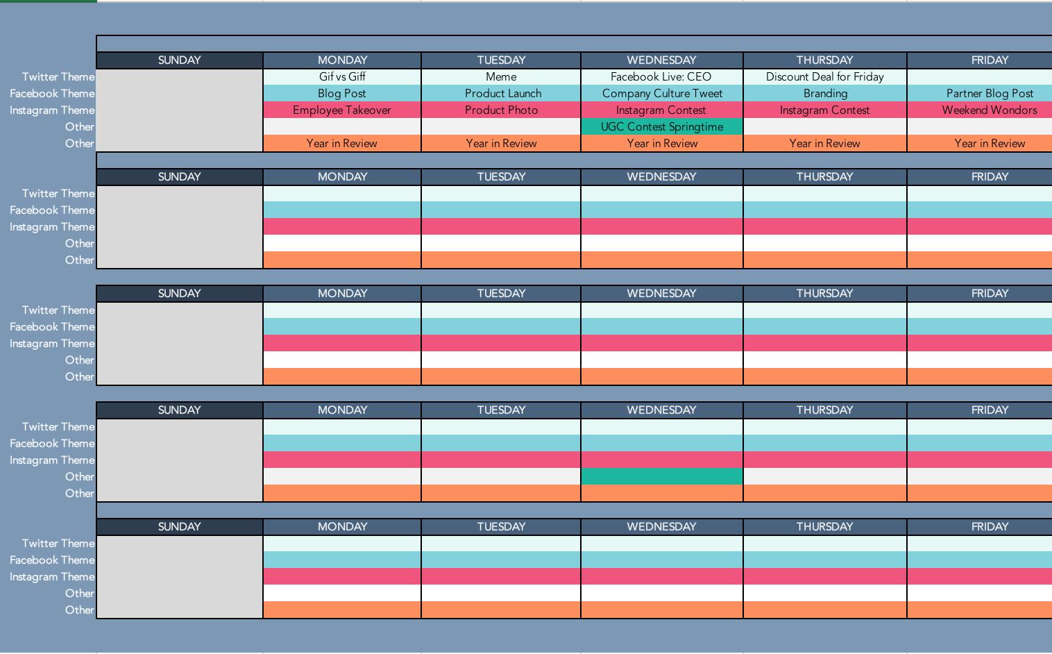 023 Screenshot202018 Social Media Posting Schedule Template