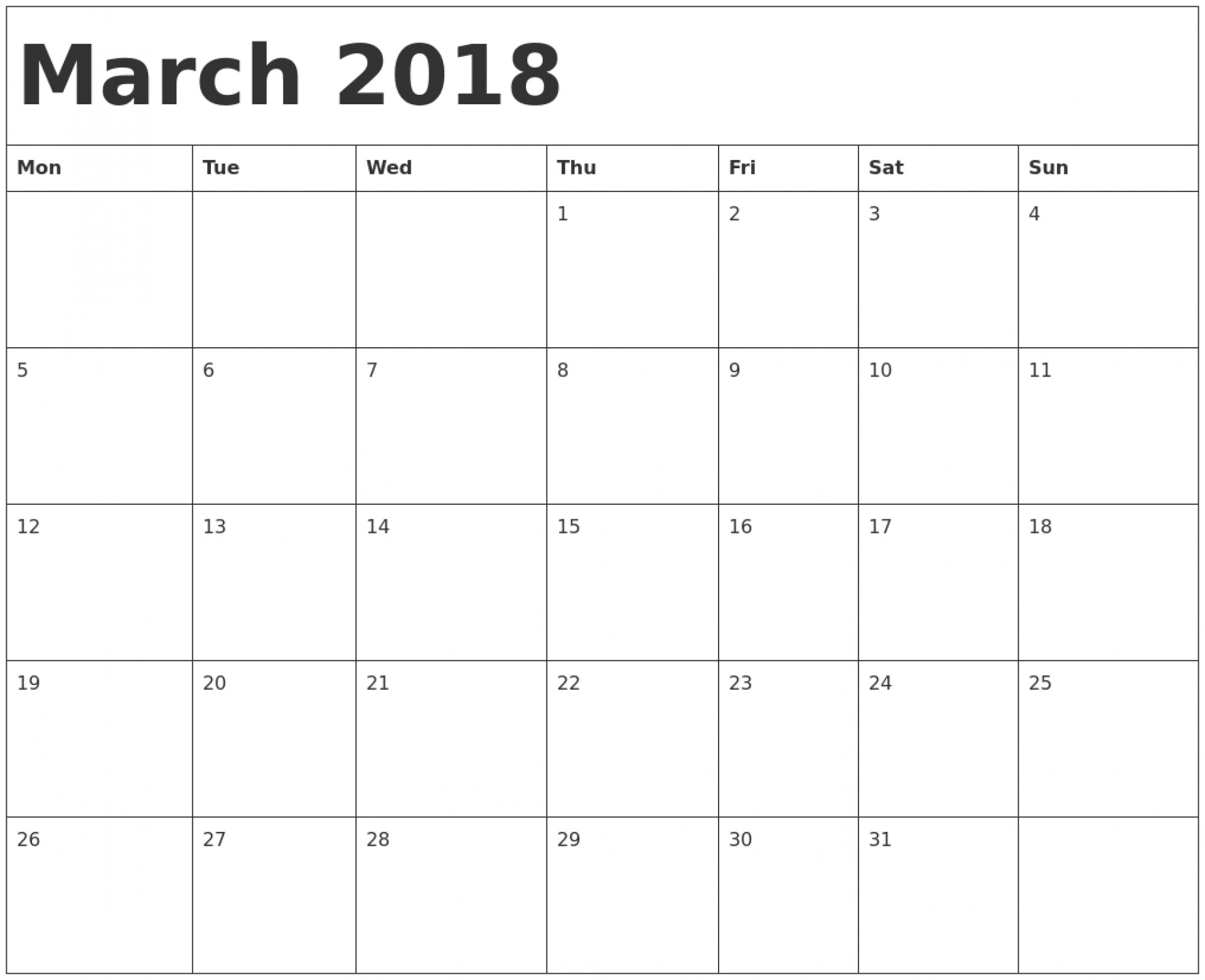 034 Printable Calendar Word March Template Monday Start