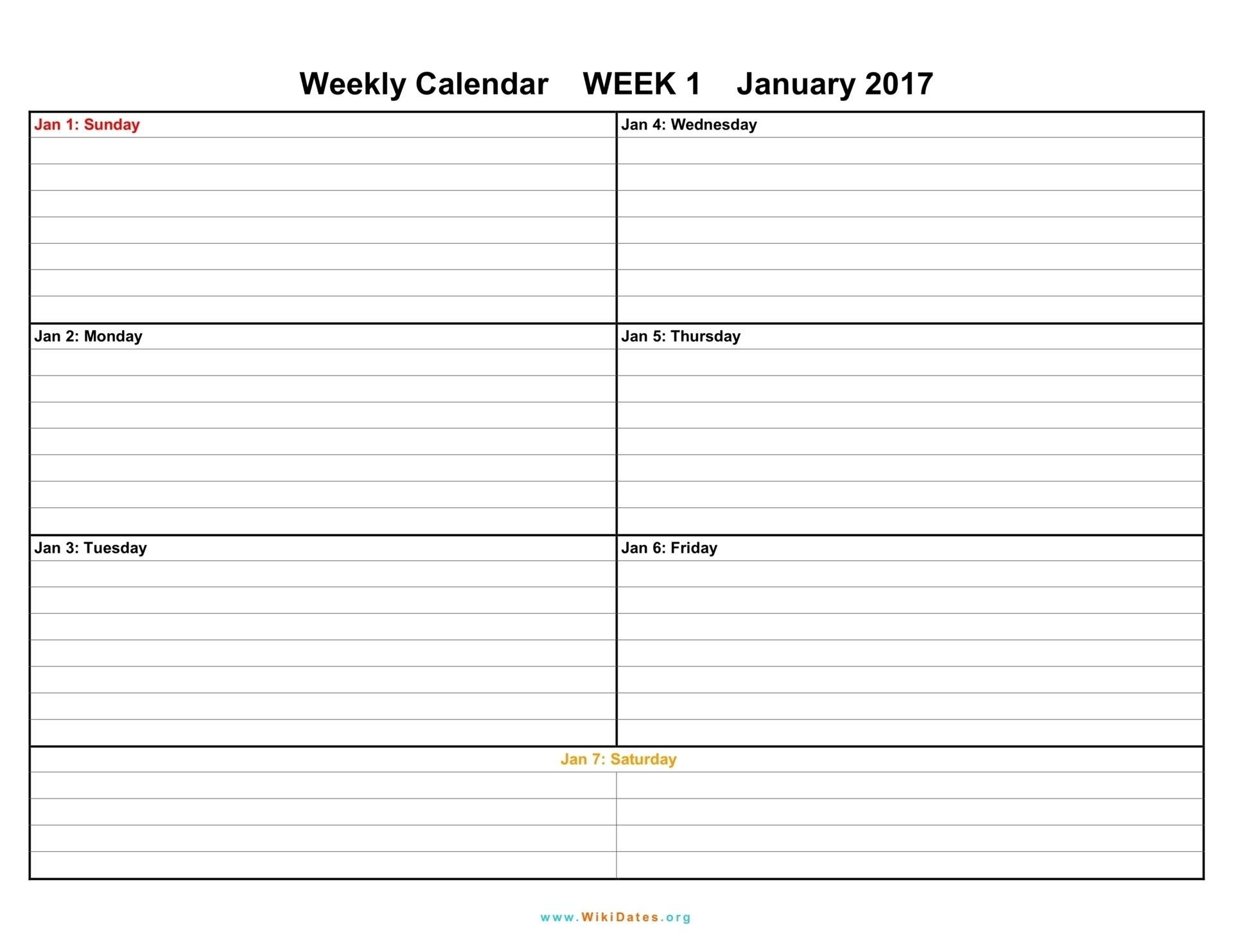 1 Week Blank Calendar Template | Template Calendar Printable