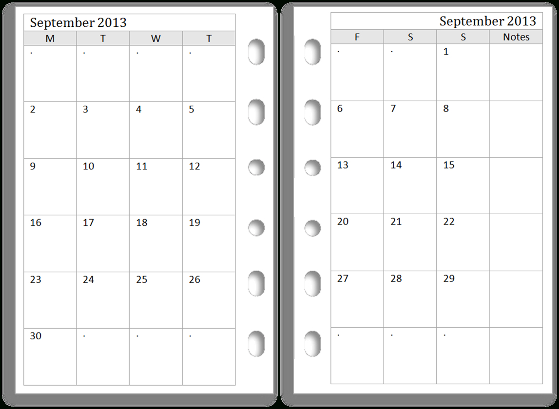 12 Images Of Two-Page Monthly Calendar Template Blank
