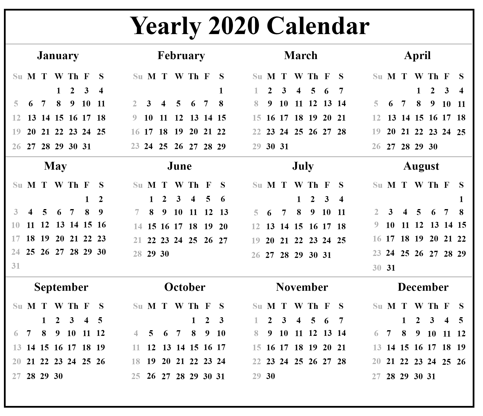 12 Month 2020 Printable Calendar Template One Page