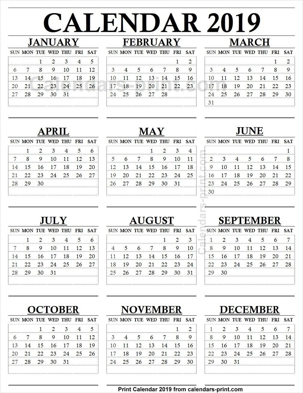 12 Month Calendar Print Out | Calendar Printing Example