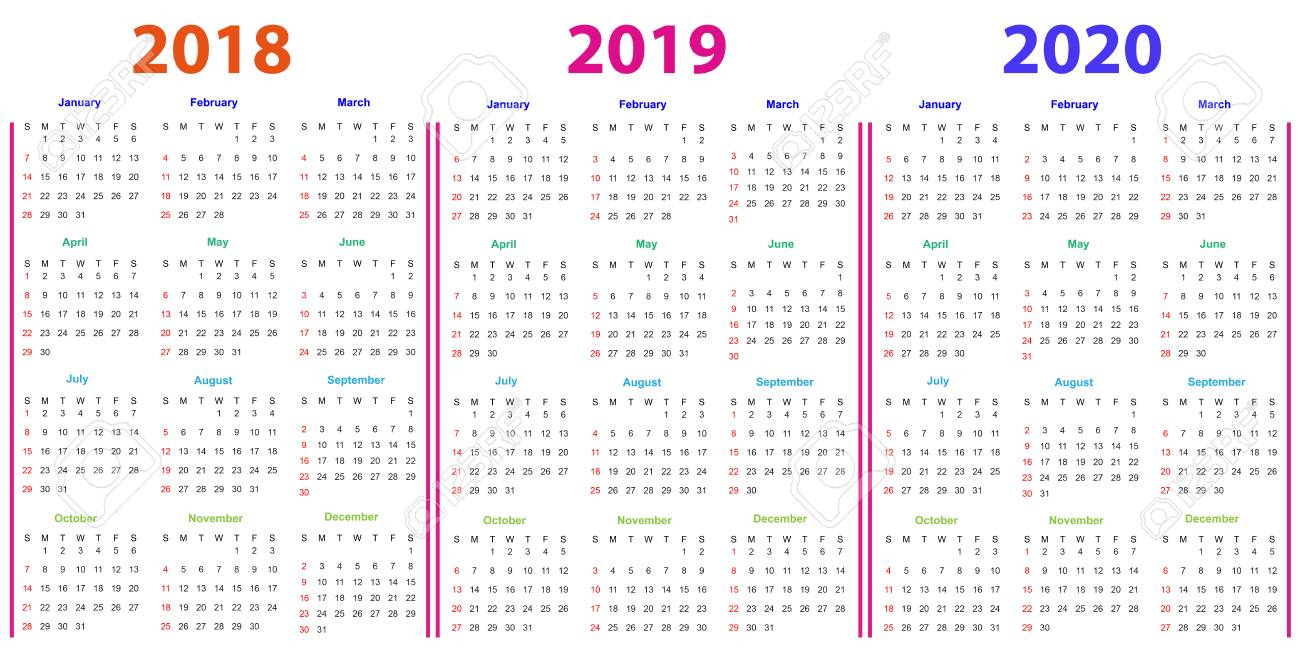 12 Months Calendar Design 2018-2019-2020 Printable And Editable.