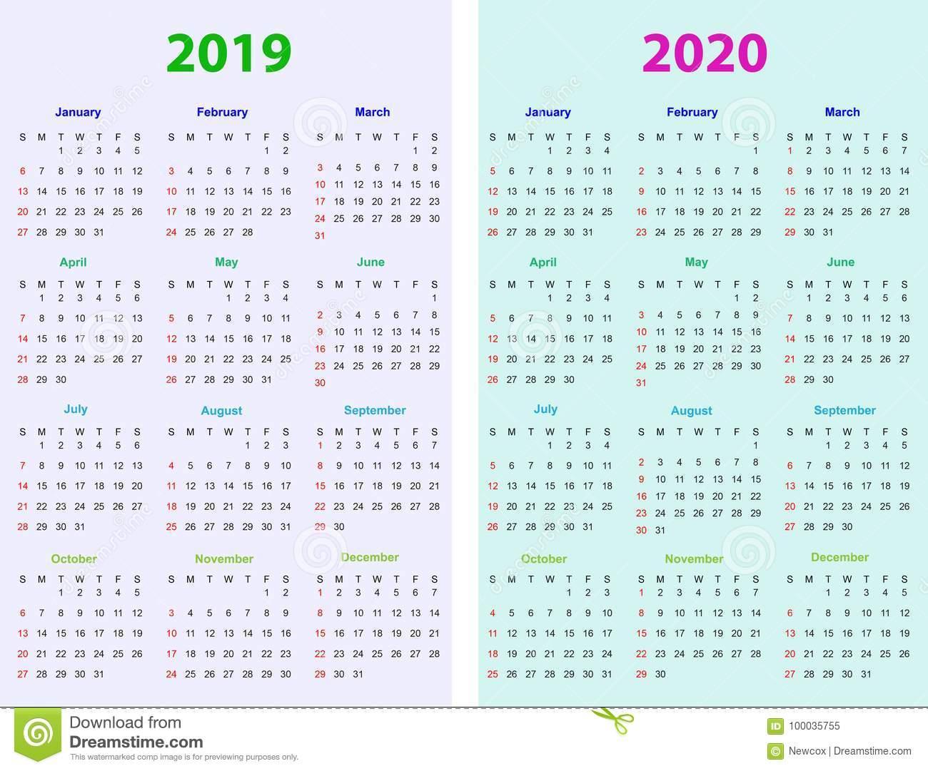 12 Months Calendar Design 2019-2020 Stock Vector
