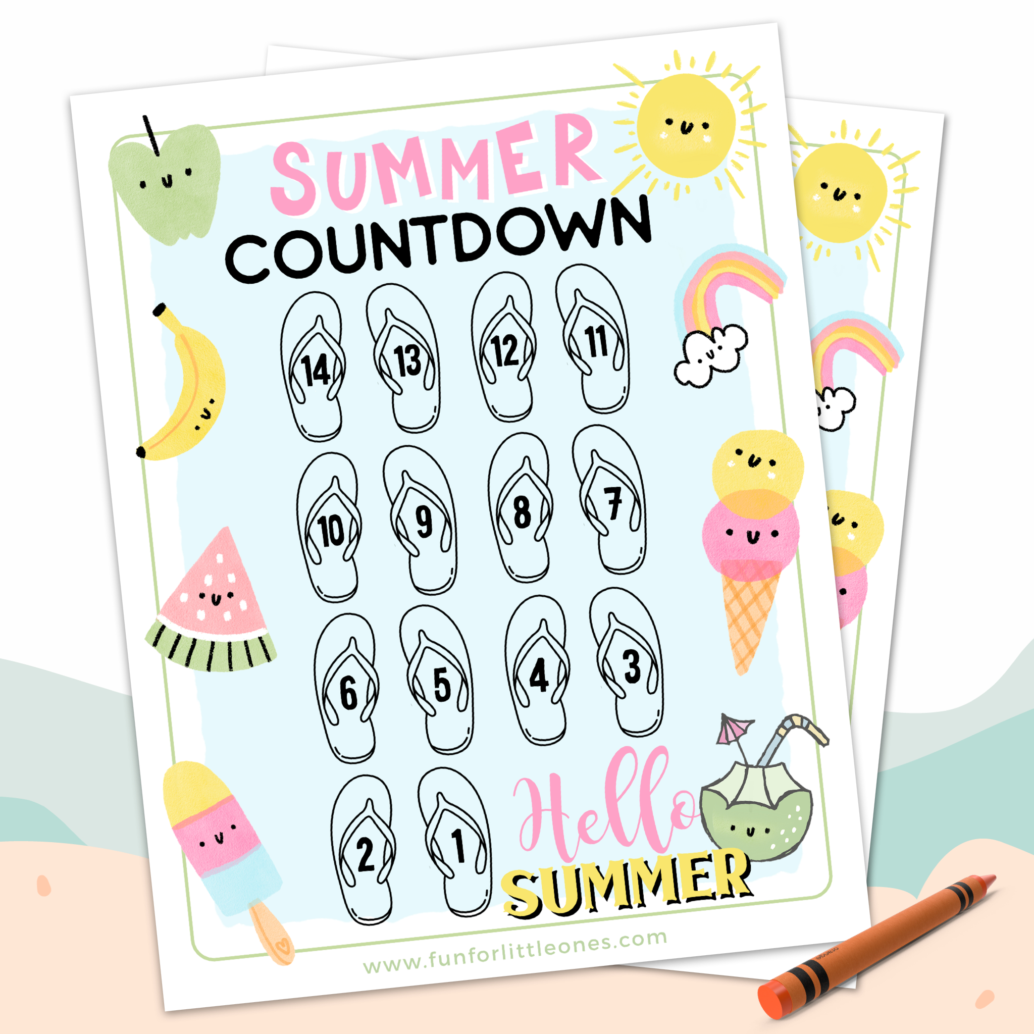 14 Days Summer Countdown Activity For Kids - Fun For Little Ones