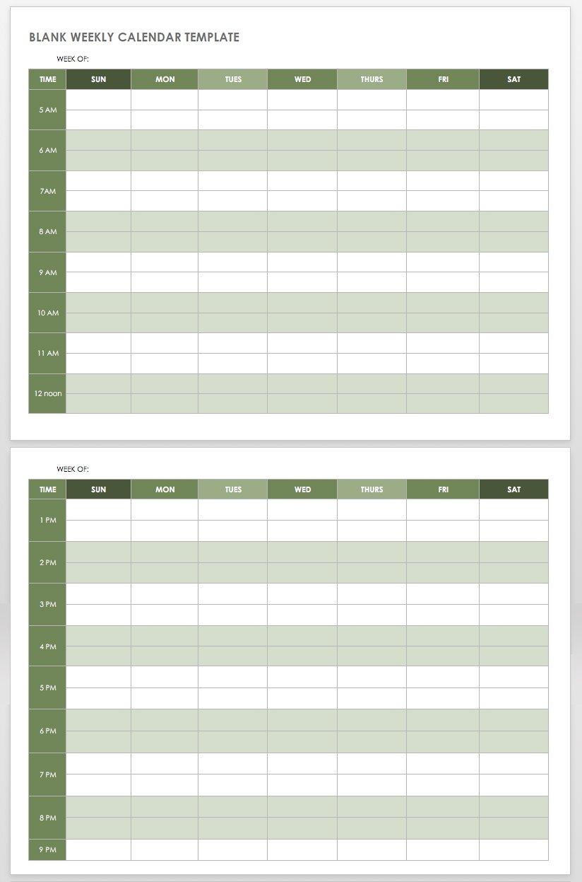 15 Free Weekly Calendar Templates | Smartsheet