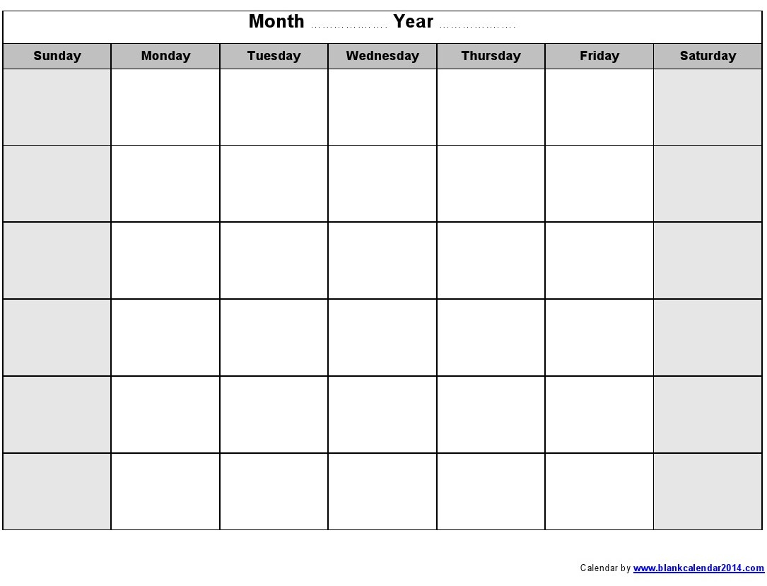 16 Blank Month Calendar Template Images - Blank Monthly