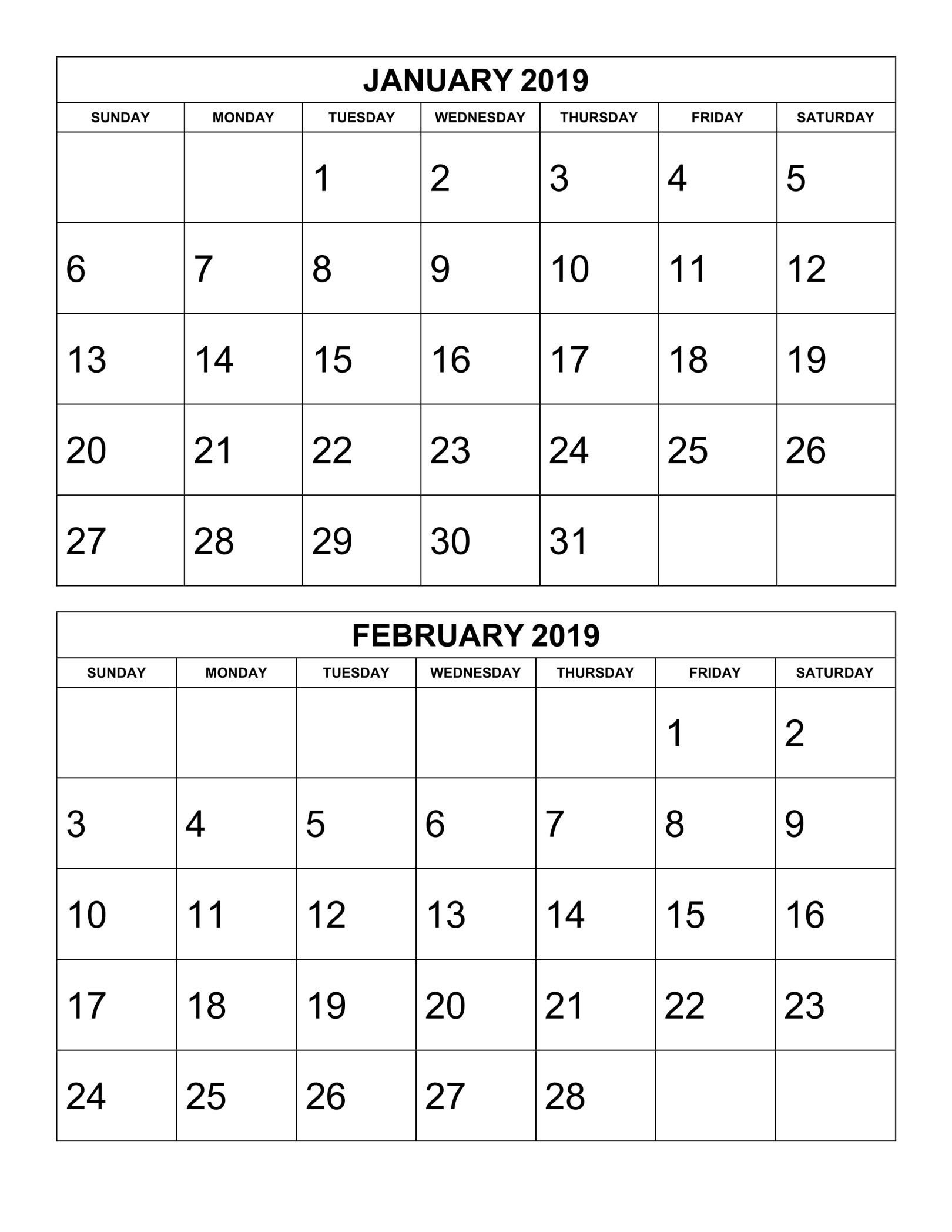 2 Month Calendar Template 2019 • Printable Blank Calendar
