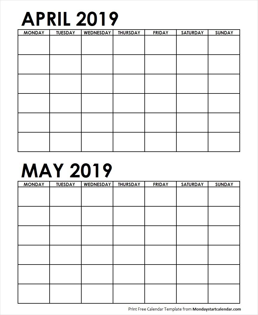 2 Month Printable Calendar April May 2019 | Calendar Design