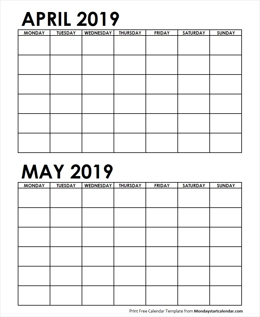 2 Month Printable Calendar April May 2019 | Calendar Design