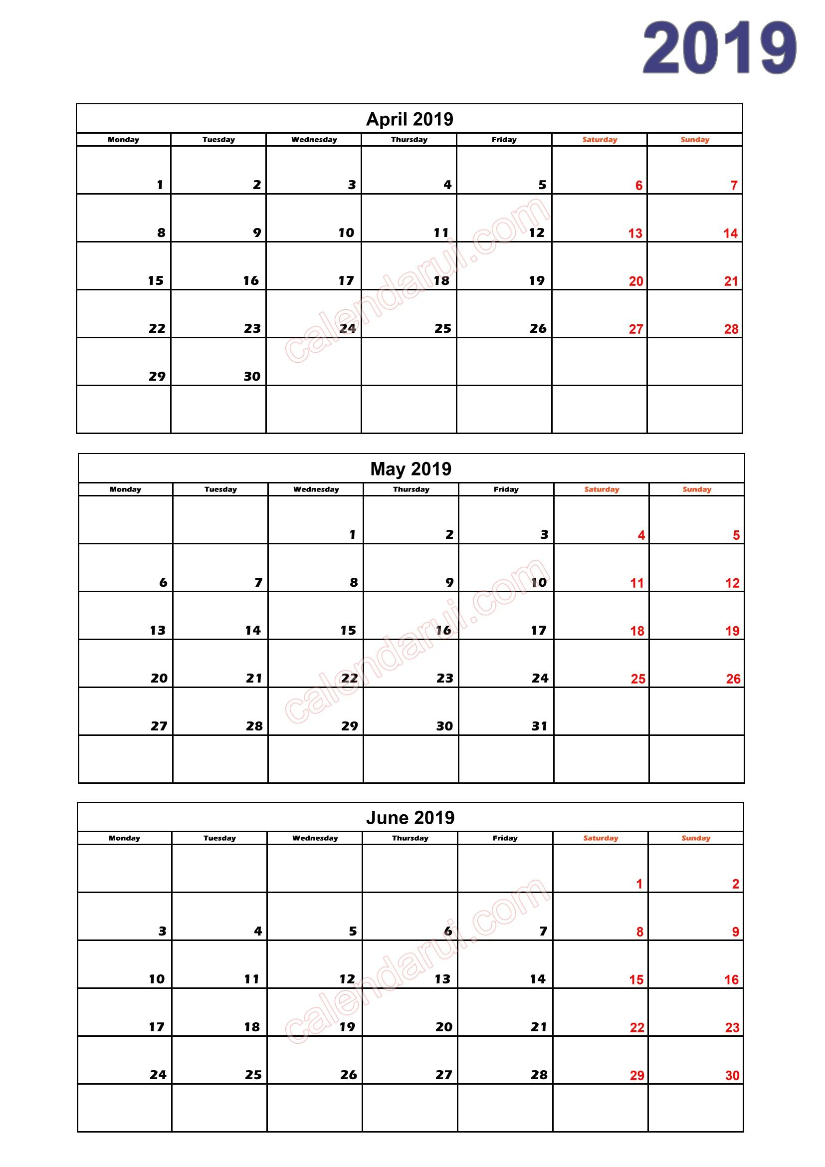 2 Quarter 2 Calendar 2019 Printable Download Free_2 | 2019