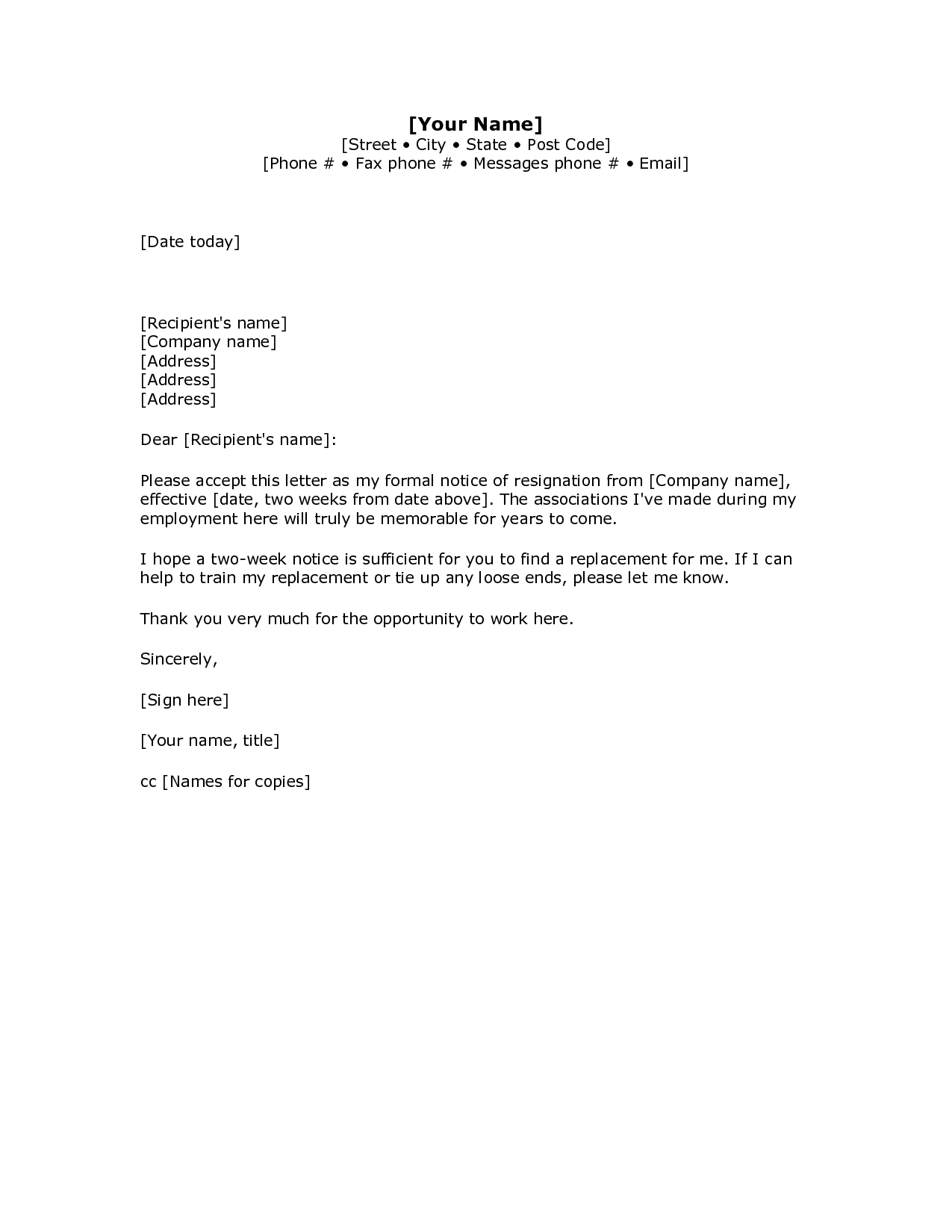 2 Week Resignation Letter Template Examples | Letter