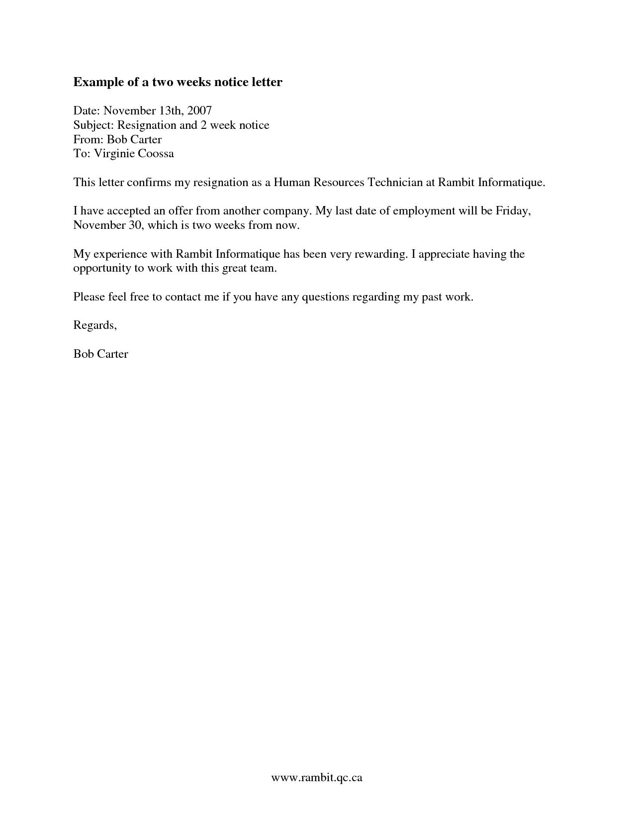 2 Weeks Notice Letter Resignation Letter Week Notice