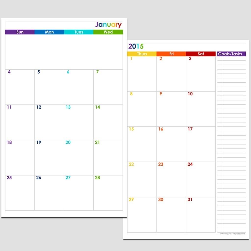 2015 12-Month 2 Page Calendar – Half Size | Legacy Templates