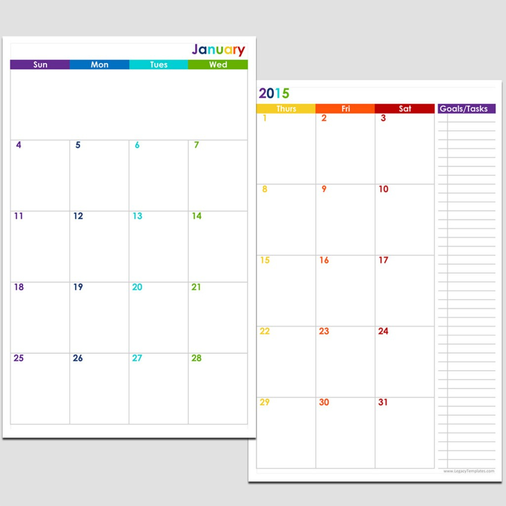 2015 12-Month 2 Page Calendar - Half Size | Legacy Templates