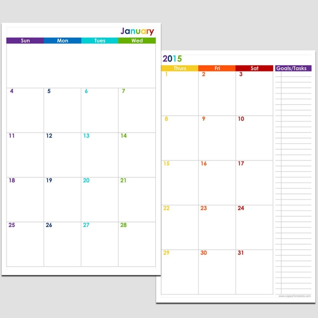 2015 12-Month 2 Page Calendar – Half Size | Legacy Templates
