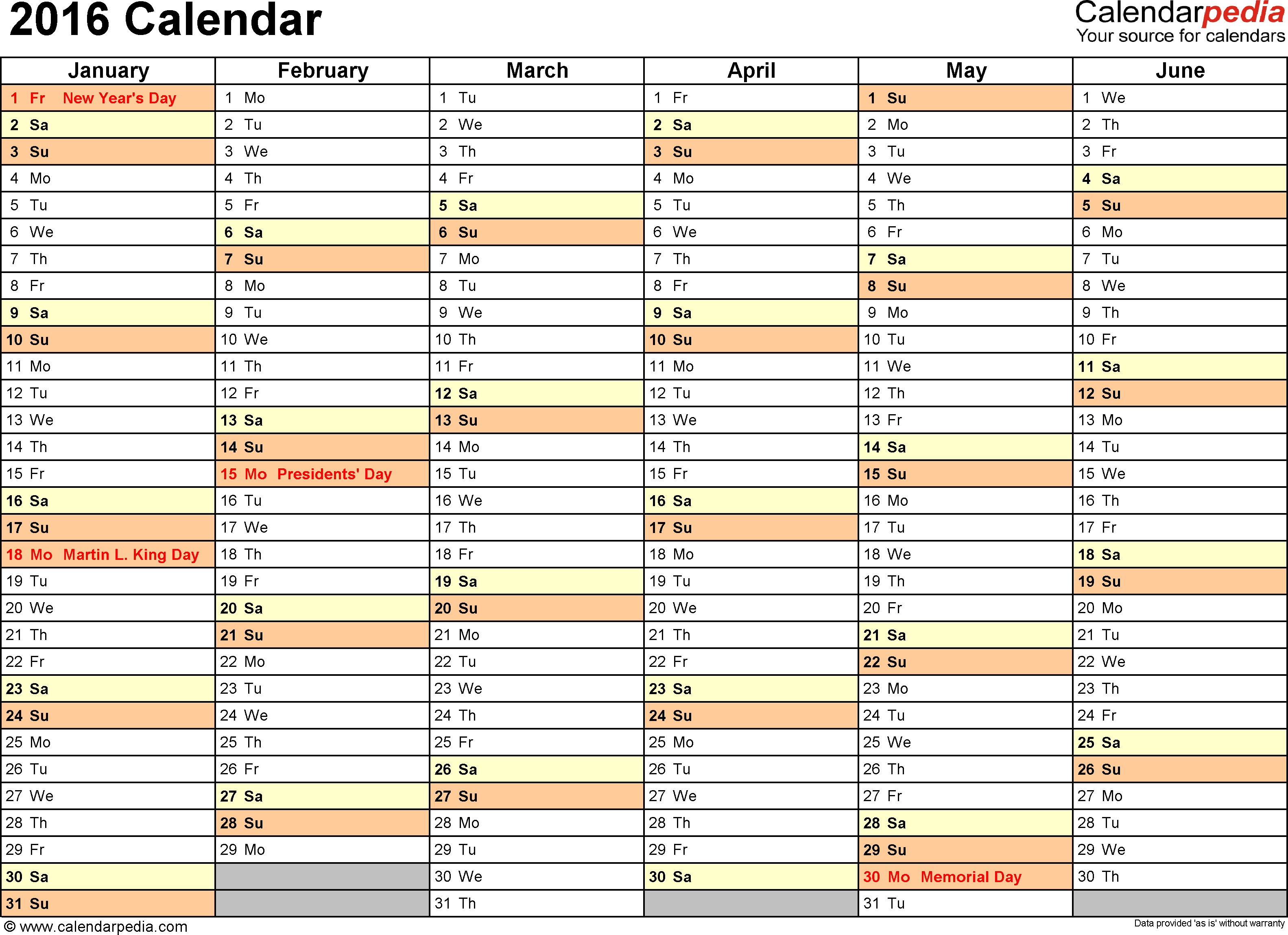 2016 Calendar - Download 16 Free Printable Excel Templates
