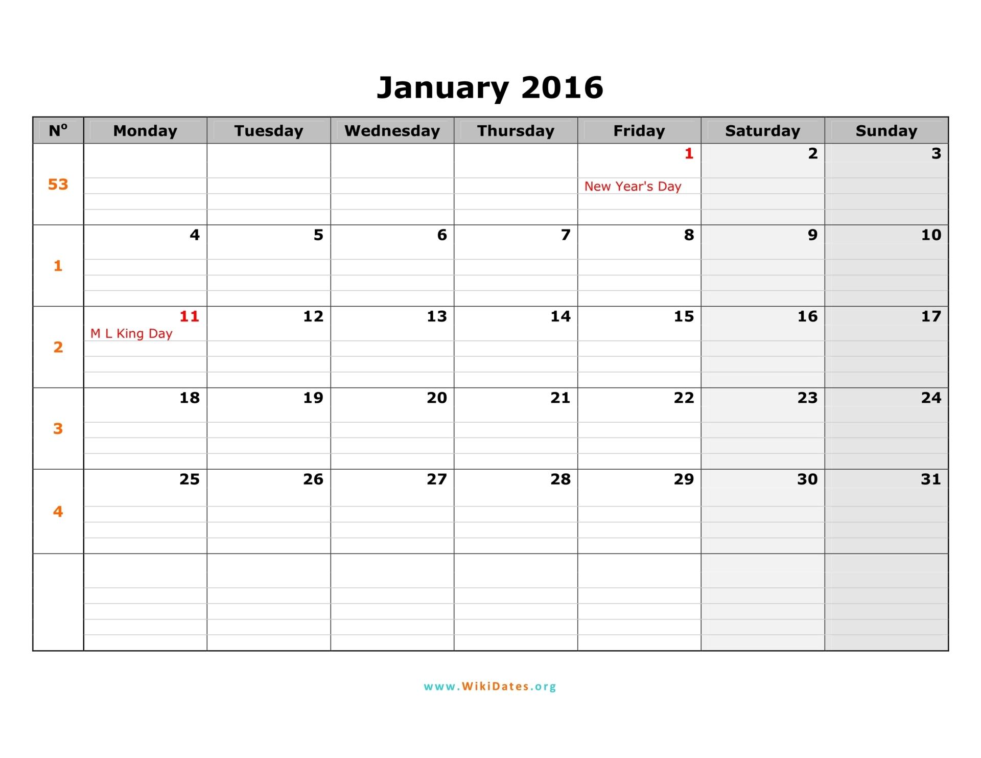 2016 Calendar | Wikidates