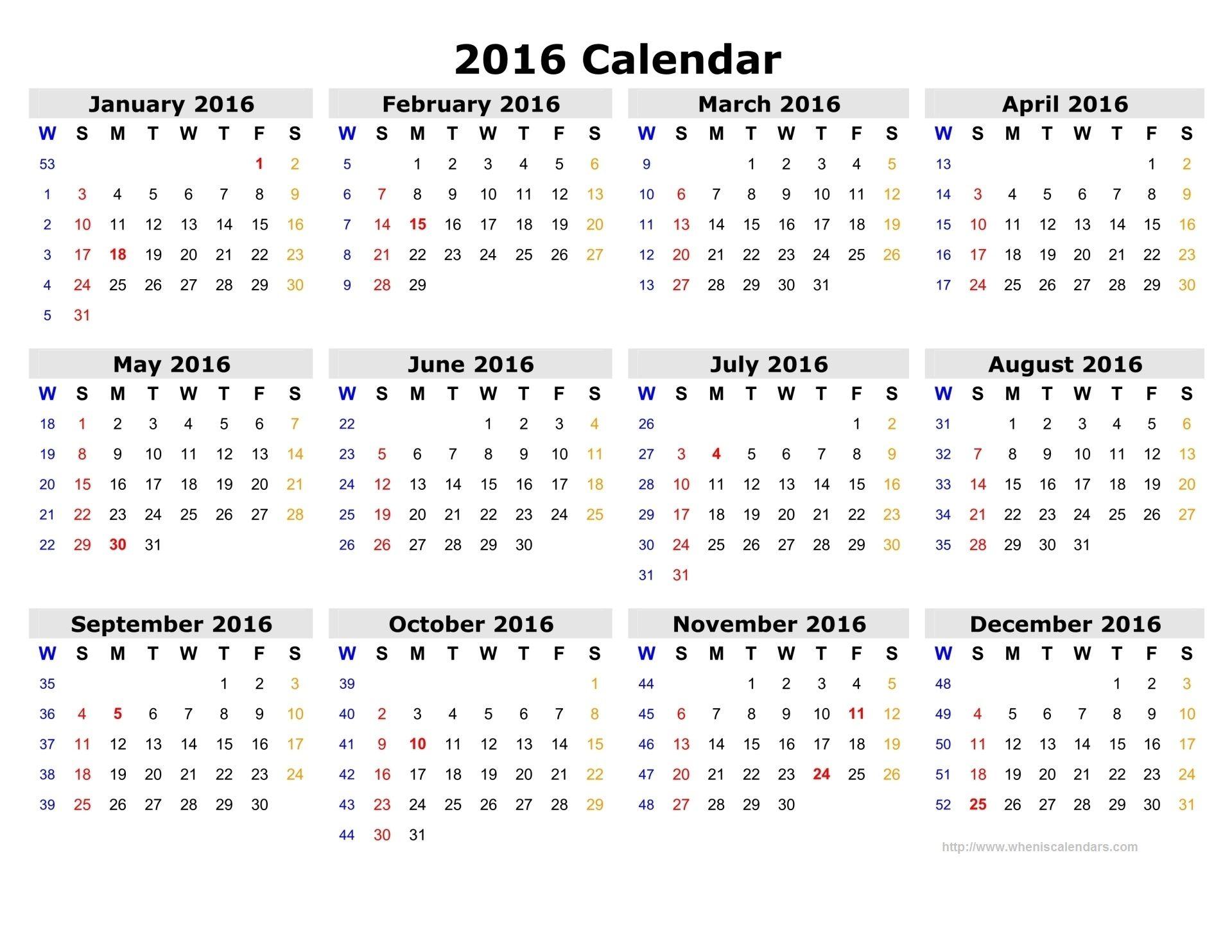 2016 Calendar With Week Numbers Printable - Google Search
