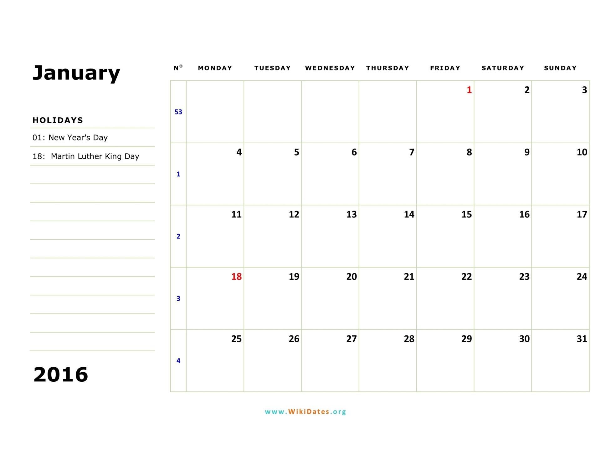2016 Monthly Calendar Starts On A Monday | Calendar Template
