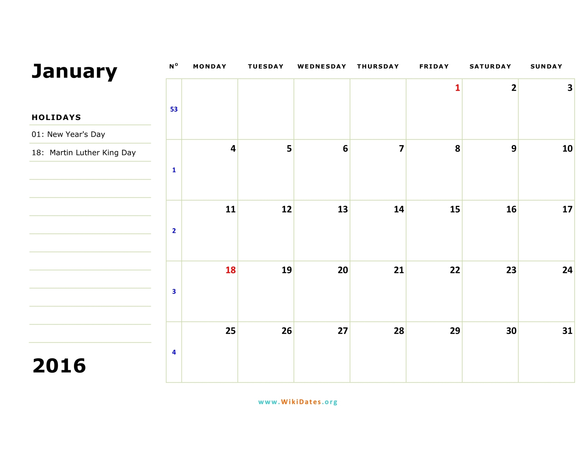 2016 Monthly Calendar Starts On A Monday | Calendar Template