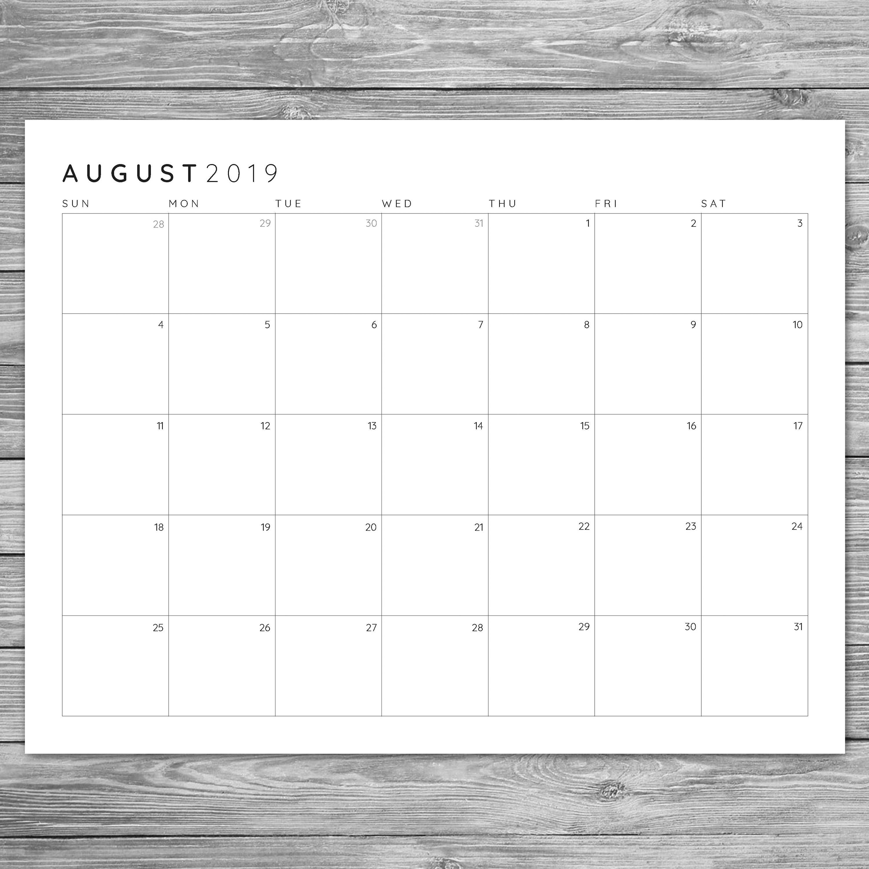 2017 2018 2019 Printable Minimalist Monthly Grid Calendar