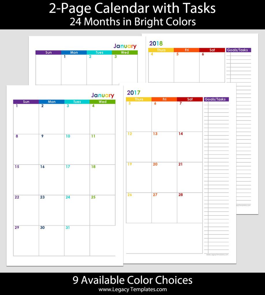 2017 & 2018 24-Months 2-Page Calendar – 5.5 X 8.5 | Legacy