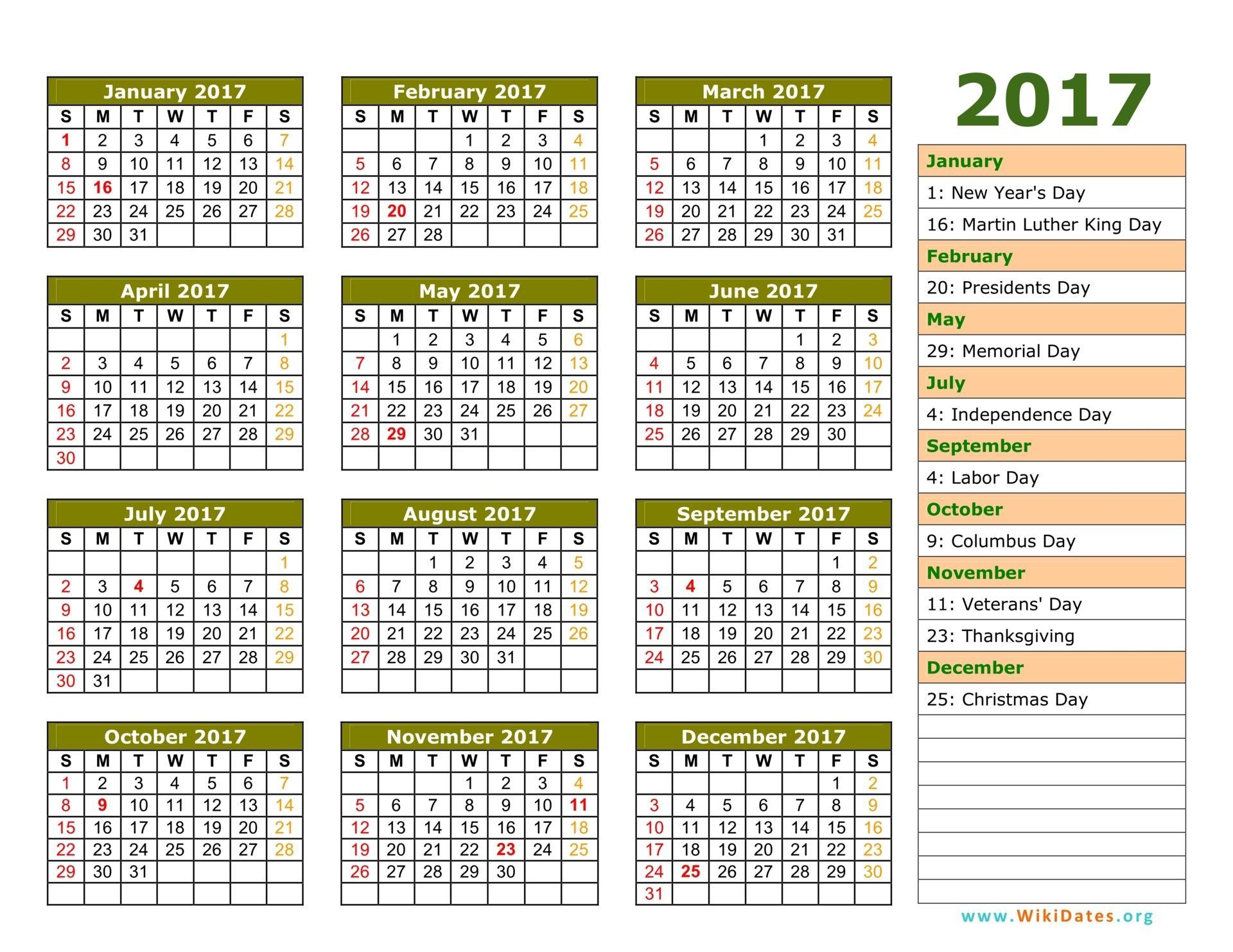 2017 Calendar With Holidays | 2017 Calendar With Holidays