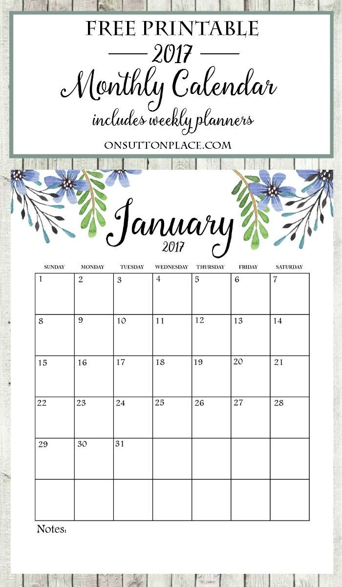 2017 Free Printable Monthly Calendar | Bloggers' Best Diy