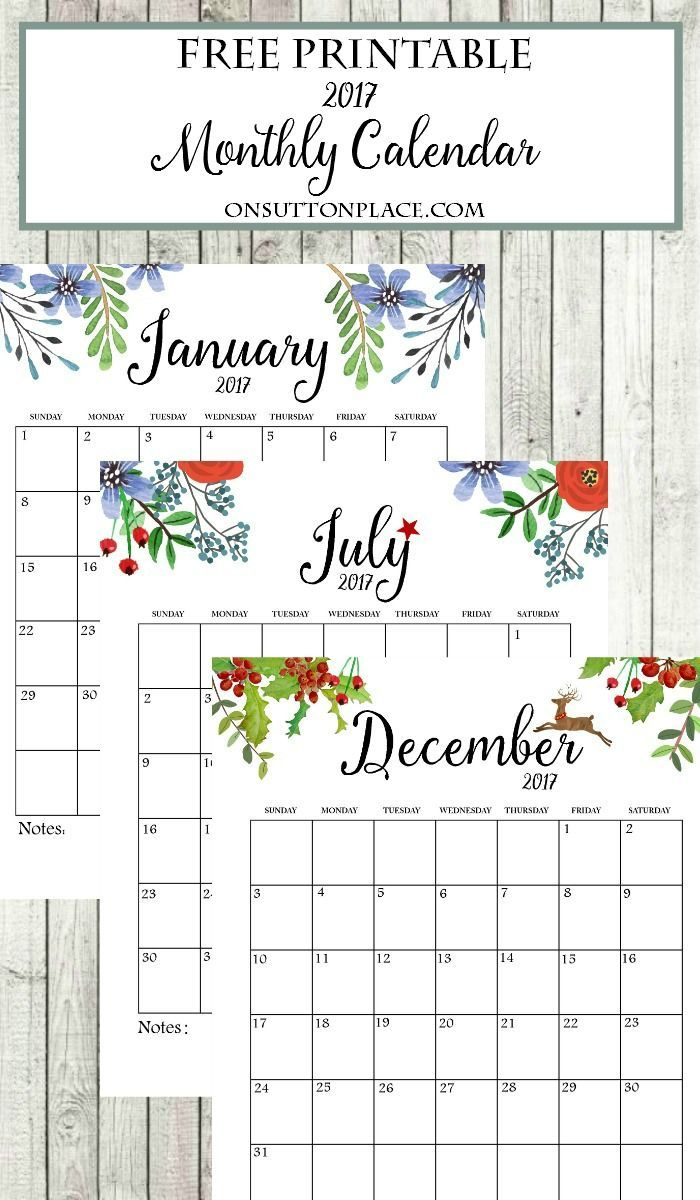 2017 Free Printable Monthly Calendar | Share Your Craft