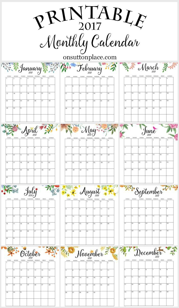 2017 Free Printable Monthly Calendar | Things To Share