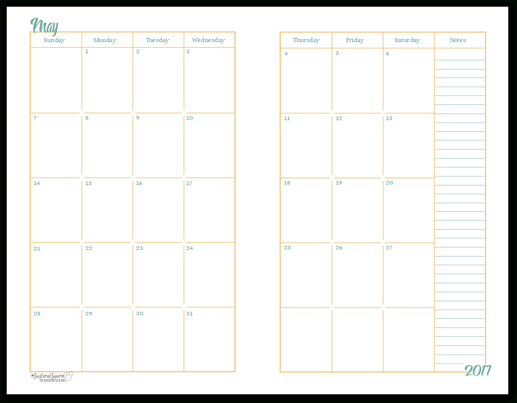 2017 Half-Size Monthly Calendar Printables | Daily Planners