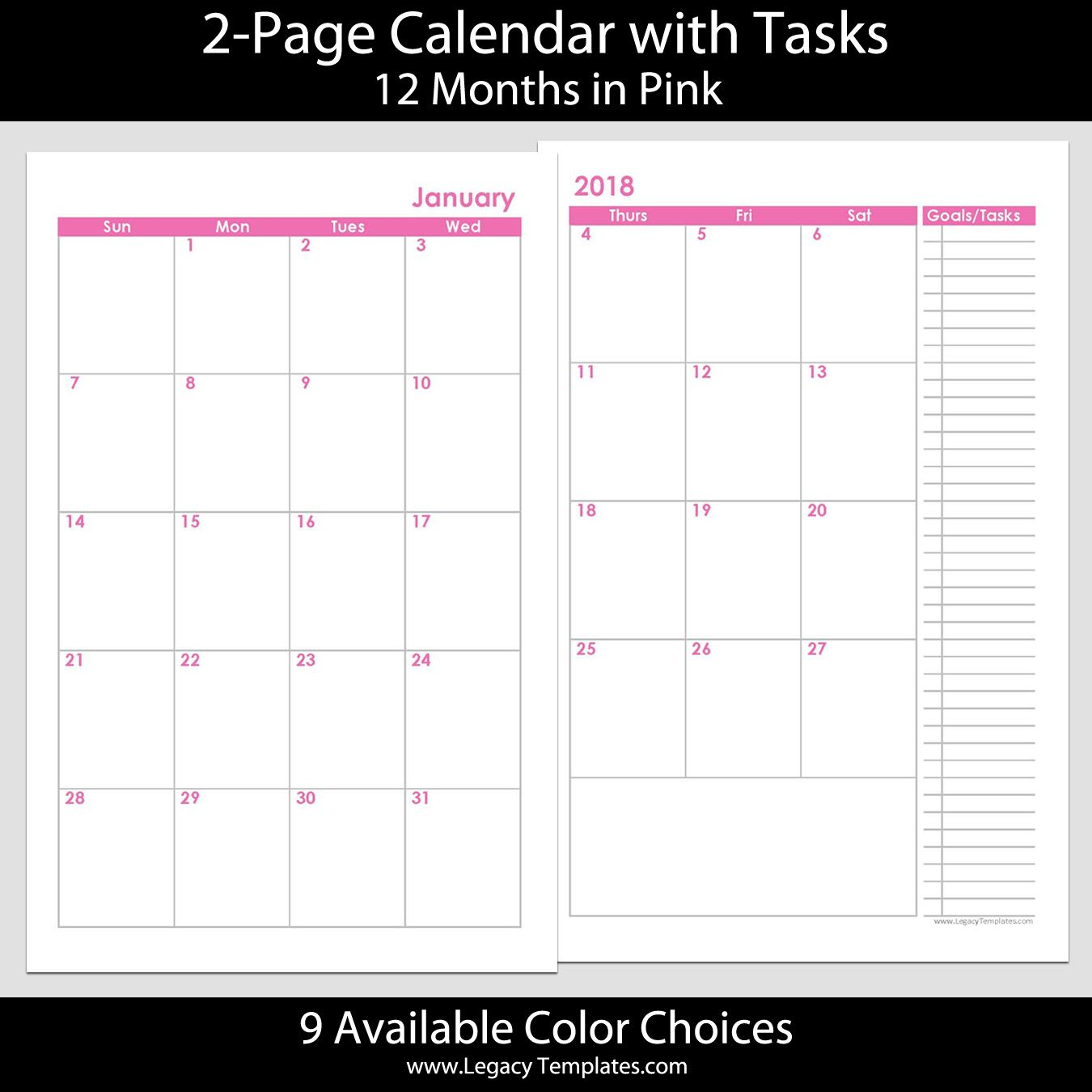 2018 12-Months 2-Page Calendar – Printable 2-Page Calendars