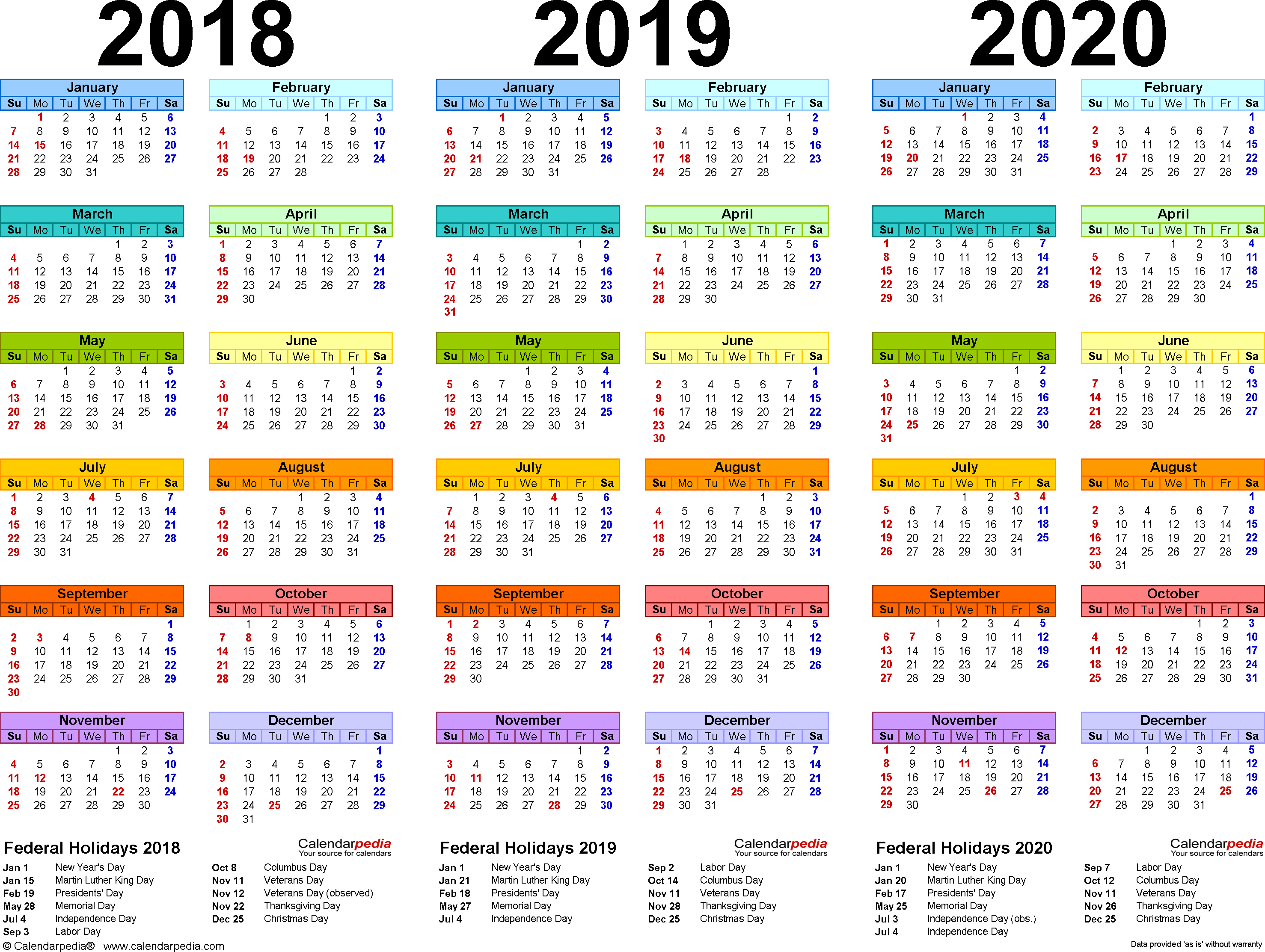 2018/2019/2020 Calendar - 4 Three-Year Printable Pdf Calendars