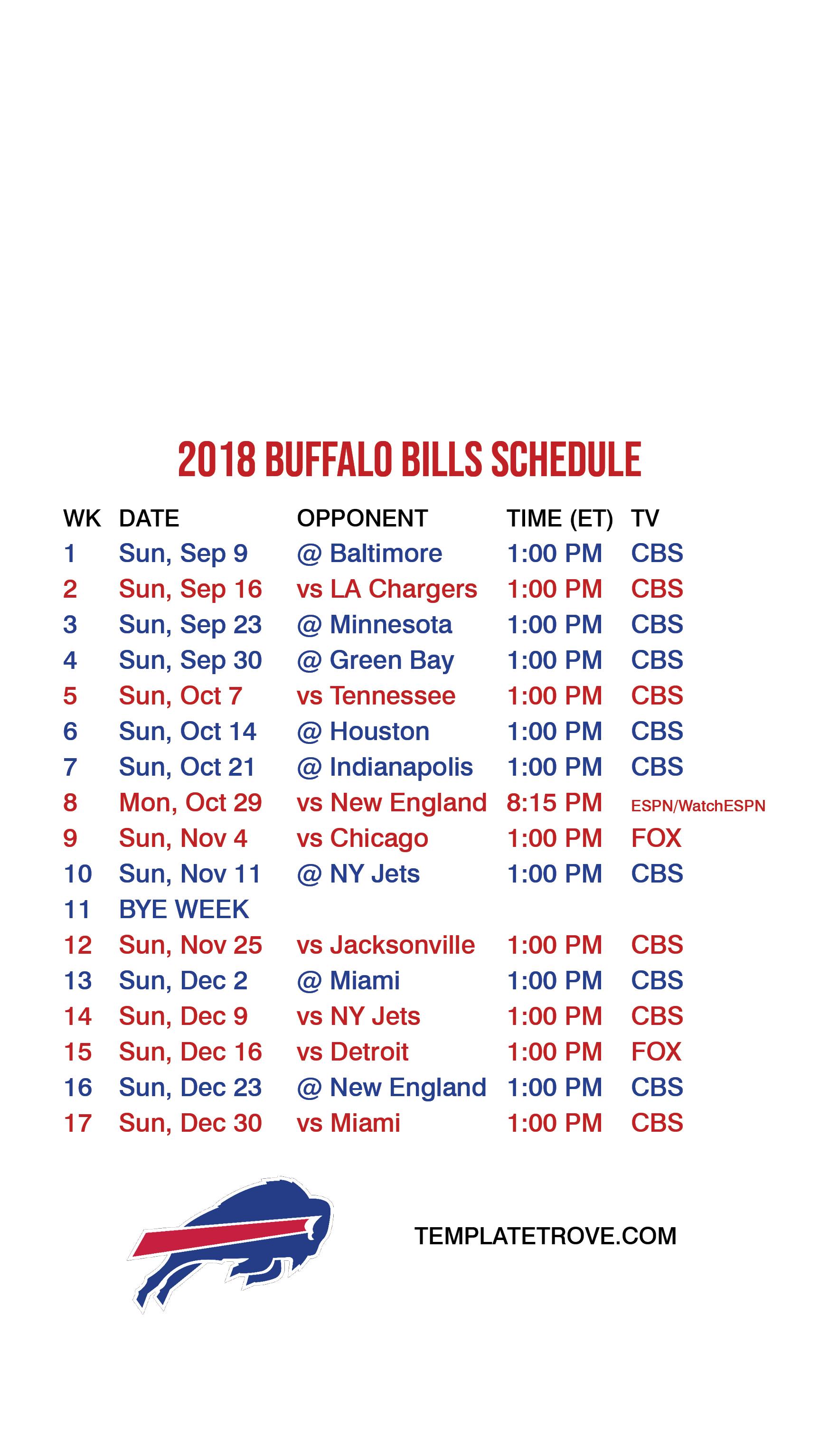 2018-2019 Buffalo Bills Lock Screen Schedule For Iphone 6-7