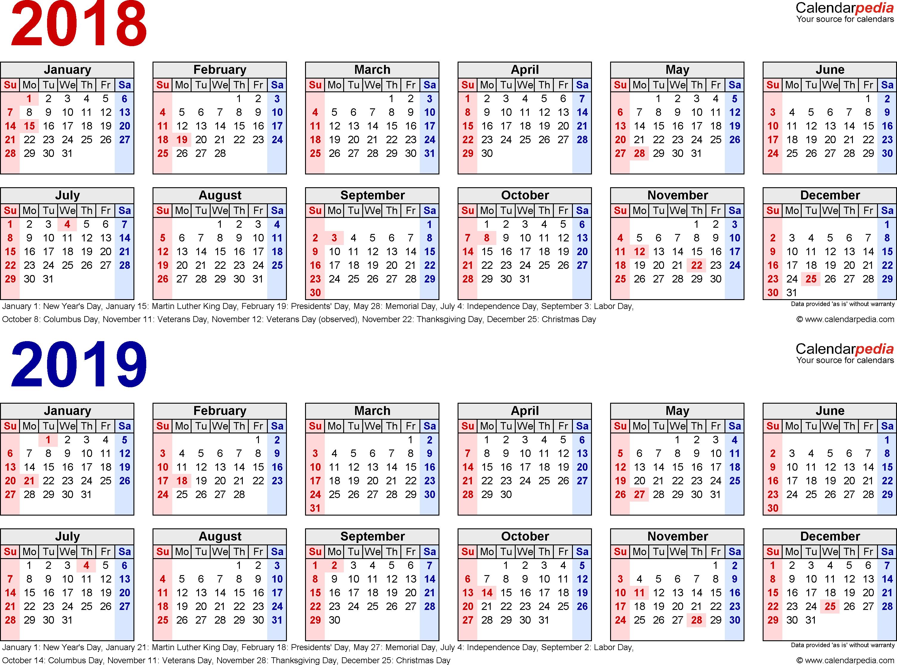 2018-2019 Calendar - Free Printable Two-Year Excel Calendars