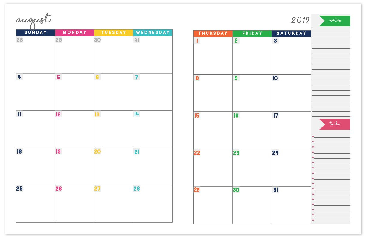 2018-2019 Monthly Planner Calendar | Diy And Crafts